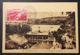 CM165 Carte Maximum 817 Barrage Genissiat Injoux-Genissiat Ain 12/2/1949 - Cartas Máxima