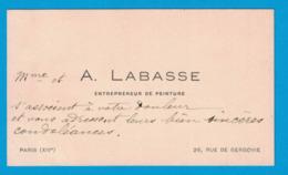 Mme ET A. LABASSE ENTREPRENEUR DE PEINTURE 26 RUE DE GERGOVIE PARIS - Cartes De Visite