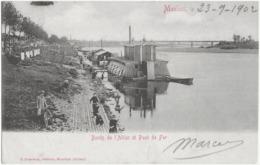 MOULINS - BORDS DE L'ALLIER ET PONT DE FER - CARTE PRECURSEUR AVEC BELLE ANIMATION - 1902 - Moulins