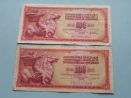 2 X 100 DINARA ( BG 8682864 & CB 4711849 ) 1978 ( Voir Photo Pour Détail Svp / For Grade, Please See Photo ) ! - Yugoslavia