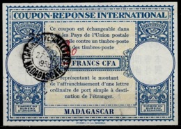 MADAGASCAR Lo15 ms. 30 / 15 FRANCS CFA International Reply Coupon Reponse IRC Antwortschein O TANANARIVE 27.12.58 - Covers & Documents