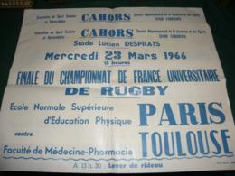 CAHORS , STADE LUCIEN DESPRATS : LE 23 MARS 1966 : FINALE DU CHAMPIONNAT DE FRANCE UNIVERSITAIRE DE RUGBY - Afiches