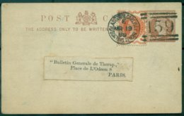 G.B. CPEP 1889 Repiquée Journal Médical GLASGOW Pour PARIS TB.(format : 120 X 75). - Entiers Postaux