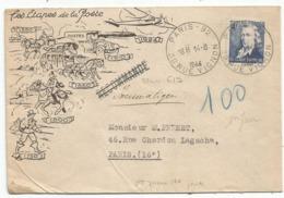 CHAPPE 4FR SEUL PNEUMATIQUE PARIS 92 14.8.1944 1E JOUR RARE - Postmark Collection (Covers)