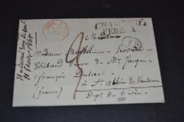Lettre 1845 Cursive Chambery Pour St Albin Isére Via Beauvoisin Cachet Rouge Sardaigne + Cachet ID - 1801-1848: Précurseurs XIX