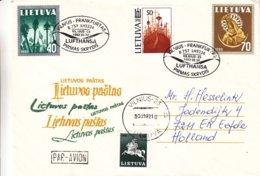 Lituanie - Lettre De 1992 - Oblit Vilnius - 1er Vol Vilnius Frankfurt - - Lituanie