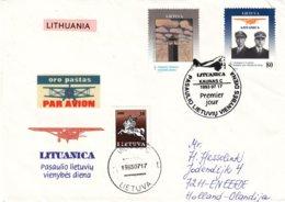 Lituanie - Lettre De 1993 - Oblit Kaunas - Exp Vers Eefde - Aviateurs - Cachet De Vilnius - Lituanie