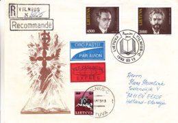 Lituanie - Lettre Recom Exprès De 1993 - Oblit Vilnius - Exp Vers Eefde - Chevaux - Lituanie