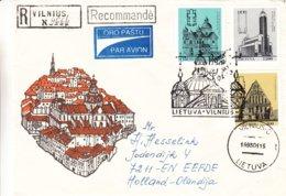Lituanie - Lettre Recom De 1993 - Oblit Vilnius - Exp Vers Eefde - Basilique - Pli Accordeon  ? - Lituanie