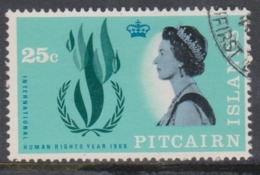 Pitcairn Islands  Scott 90 1968 Human Rights,25c,used - Stamps