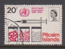 Pitcairn Islands  Scott 96 1968 WHO,20c ,used - Stamps
