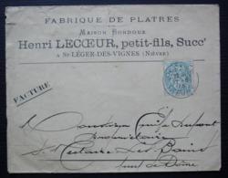 Saint Léger Des Vignes (Nièvre) 1905 Maison Bondoux Henri Lecoeur Succr Fabrique De Platres - Poststempel (Briefe)