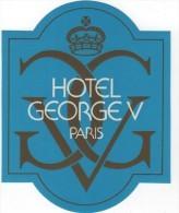 Etiquette Hôtel Autocollant GEORGE V Paris - Etiquettes D'hotels