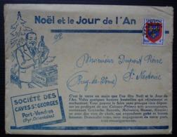 Port Vendres Société Des Caves Saint Georges (Vin) Noël Et Le Jour De L'An Belle Enveloppe Illustrée Pyrénées Orientales - Poststempel (Briefe)