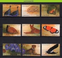 Nff050 FAUNA VOGELS KAT HOND PAD VLINDER BUTTERFLIES SNAKE TOAD EAGLE FLOWERS DOG CAT CHEETAH BIRDS LIBERIA 2000 PF/MNH - Briefmarken