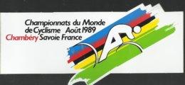 Autocollant - Championnats Du Monde De Cyclisme Août 1989 - Chambéry Savoie France - Autocollants