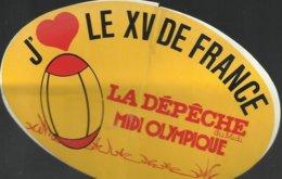 Autocollant - J'aime Le XV De France - La Dépêche Du Midi - Midi Olympique - Autocollants