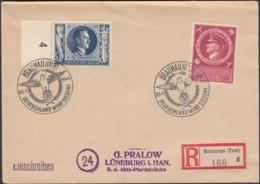 Germany - Reg. Cover, Einschreiben MiF Brief MiNr. 846, 887 Führers Geburtstag. BRAUNAU 20.4.1944 - Lüneburg. - Duitsland