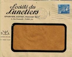 TP N ° 718A  Perforés SL Sur Enveloppe De La Société Des Lunetiers - France
