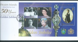 Pitcairn Islands 2002 QEII Golden Jubilee Miniature Sheet On FDC Official Unaddressed - Stamps