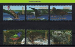 Nff055 FAUNA VOGELS LEGUAAN IGUANA MOUSE OPOSSUM SOLENODON BIRDS VÖGEL AVES OISEAUX ANTIGUA & BARBUDA 2001 PF/MNH - Briefmarken