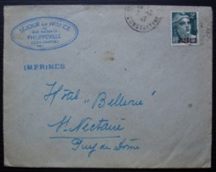 Algérie 1947 Constantine Séjour En France Philippeville, Pour L'Hôtel Bellevue à Saint Nectaire (Puy De Dôme) - Algerien (1924-1962)