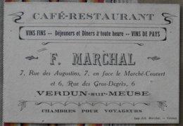 55 VERDUN  F. MARCHAL Cafe Restaurant Chambres Pour Voyageurs Note Des Frais - Cartes De Visite