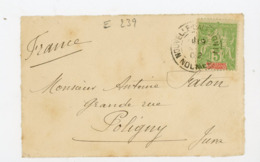 NOUVELLE CALEDONIE (RF) - N° Yt 59 Obli. NOUMÉA 1902 POUR POLIGNY - Cartas