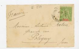 NOUVELLE CALEDONIE (RF) - N° Yt 59 Obli. NOUMÉA 1902 POUR POLIGNY - New Caledonia