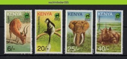 Nff054 FAUNA ZOOGDIEREN OLIFANT NEUSHOORN AAP HERT DEER MONKEY RHINO ELEPHANT MAMMALS WILDLIFE KENYA 1996 PF/MNH - Wild