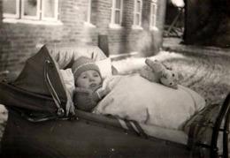 Photo Originale Portrait De Bébé & Peluche Dans Son Landau Vers 1940 Sur La Neige - Personnes Anonymes