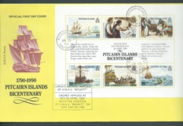 Pitcairn Islands 1989 Bounty  Mutiny Bicentenary Miniature Sheets FU On FDC , Cacheted Aboard Replica Vessel - Stamps