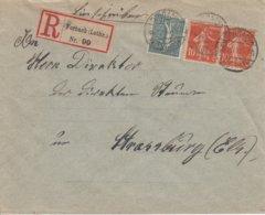 Env Reco Affr Y&T 130 + 138 X 2 Obl FORBACH / * (LOTHR) * Du 4.2.19 Adressée à Strassburg - Postmark Collection (Covers)