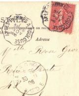 DOUBLE OBLITERATION AMBULANT FERROVIAIRE AX LES THERMES A TOULOUSE SUR SEMEUSE LIGNEE - Storia Postale