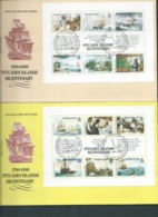 Pitcairn Islands 1989 Bounty Mutiny & Sets Sail  Bicentenary Miniature Sheets 2 FDC Official Unaddressed - Stamps