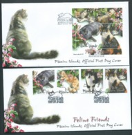 Pitcairn Islands 2002 Cats Set Of 4 & Miniature Sheet On 2 FDC Official Unaddressed - Stamps