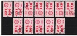 YZO918 DDR 1964 LAUFKONTROLLZETTEL ZKD Michl 38 I - XII  Gestempelt  ZÄHNUNG Siehe ABBILDUNG - Dienstpost