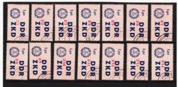 YZO919 DDR 1964 LAUFKONTROLLZETTEL ZKD Michl 39 I - XIV  Gestempelt  ZÄHNUNG Siehe ABBILDUNG - Dienstpost
