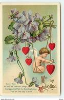 N°1449 - Carte Gaufrée - Clapsaddle - To My Valentine - Angelot Sur Une Balançoire - Saint-Valentin