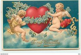 N°9200 - Carte Fantaisie Gaufrée - To My Valentine - Anges Décorant Un Coeur - Saint-Valentin