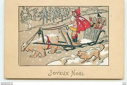 N°11186 - Carte Fantaisie - Joyeux Noël - Père Noël - Attelage Avec Un Ours Blanc - Weihnachten