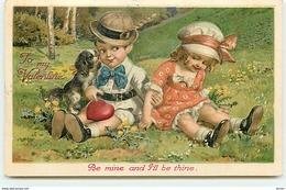 N°12296 - Carte Gaufrée - To My Valentine - Be Mine And I'll Be Thine - Couple D'enfant Avec Un Chien - Valentijnsdag