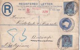 GRANDE-BRETAGNE 1899  ENTIER POSTAL/GANZSACHE/POSTAL STATIONERY LETTRE RECOMMANDEE AVEC CACHET ARRIVEE ANVERS - Entiers Postaux