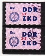 YZO923 DDR 1964 LAUFKONTROLLZETTEL ZKD Michl 43 I + II  Gestempelt  ZÄHNUNG Siehe ABBILDUNG - Dienstpost