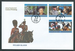 Pitcairn Islands 1997 QEII Golden Wedding Anniversary Set Of 3 Pairs On FDC Official Unaddressed - Stamps