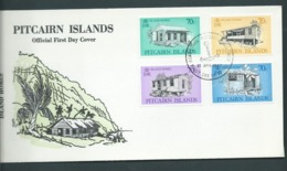 Pitcairn Islands 1987 Local Homes Set Of 4 On FDC Official Unaddressed - Stamps