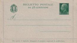 ITALIE   ENTIER POSTAL/INTERI POSTALE/POSTAL STATIONERY CARTE-LETTRE - 1900-44 Vittorio Emanuele III
