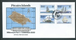 Pitcairn Islands 1998 - 2000 Millennium I, II & III Three Sets Of 4 On FDC Official Unaddressed - Stamps