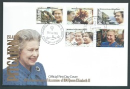 Pitcairn Islands 1992 QEII Accession Anniversary Set Of 5 On FDC Official Unaddressed - Stamps