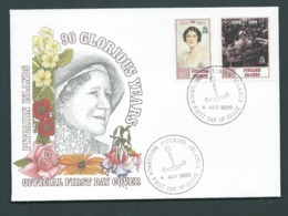 Pitcairn Islands 1990 Queen Mother 90th Birthday Set Of 2 On FDC Official Unaddressed - Stamps
